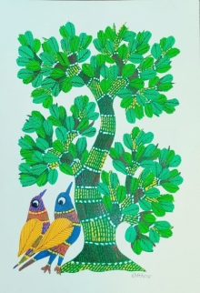 Choti Gond Artist | Gond Traditional art title Birds Under The Tree 3 on Paper | Artist Choti Gond Artist Gallery | ArtZolo.com