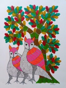 Traditional Indian art title Birds Under The Tree 6 on Paper - Gond Paintings