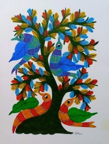 Traditional Indian art title Birds Under Tree 7 on Paper - Gond Paintings