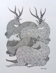 art, traditional, tribal, gond, paper, animal