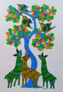Traditional Indian art title Deer Under The Tree on Paper - Gond Paintings