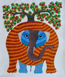 Traditional Indian art title Elephant 4 on Canvas - Gond Paintings