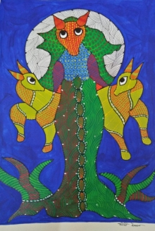 Traditional Indian art title Gond 1 on Paper - Gond Paintings