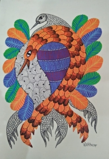Choti Gond Artist | Gond Traditional art title Gond 11 on Paper | Artist Choti Gond Artist Gallery | ArtZolo.com