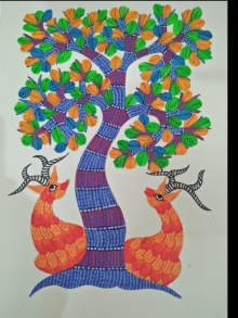 Traditional Indian art title Gond 13 on Paper - Gond Paintings
