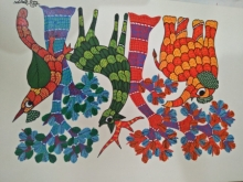 Traditional Indian art title Gond 14 on Paper - Gond Paintings
