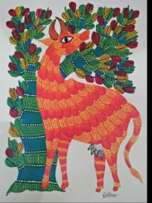 Traditional Indian art title Gond 15 on Paper - Gond Paintings