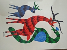 Traditional Indian art title Gond 16 on Paper - Gond Paintings