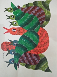 Traditional Indian art title Gond 17 on Paper - Gond Paintings