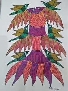 Traditional Indian art title Gond 18 on Paper - Gond Paintings