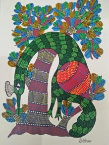 Traditional Indian art title Gond 19 on Paper - Gond Paintings