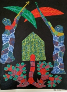 Traditional Indian art title Gond 2 on Paper - Gond Paintings