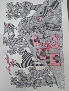 Choti Gond Artist | Gond Traditional art title Gond 20 on Paper | Artist Choti Gond Artist Gallery | ArtZolo.com