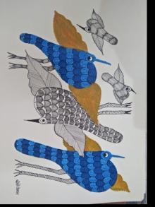 Choti Gond Artist | Gond Traditional art title Gond 22 on Paper | Artist Choti Gond Artist Gallery | ArtZolo.com