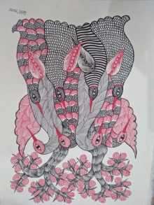 Choti Gond Artist | Gond Traditional art title Gond 23 on Paper | Artist Choti Gond Artist Gallery | ArtZolo.com