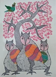 Choti Gond Artist | Gond Traditional art title Gond 24 on Paper | Artist Choti Gond Artist Gallery | ArtZolo.com