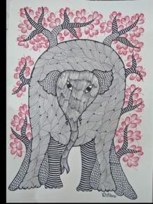 Choti Gond Artist | Gond Traditional art title Gond 25 on Paper | Artist Choti Gond Artist Gallery | ArtZolo.com
