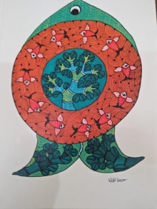 Traditional Indian art title Gond 26 on Paper - Gond Paintings