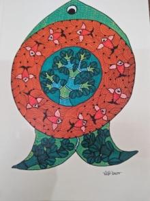 Choti Gond Artist | Gond Traditional art title Gond 26 on Paper | Artist Choti Gond Artist Gallery | ArtZolo.com