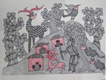 Traditional Indian art title Gond 3 on Paper - Gond Paintings