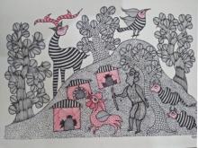 Choti Gond Artist | Gond Traditional art title Gond 3 on Paper | Artist Choti Gond Artist Gallery | ArtZolo.com