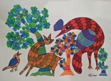 Choti Gond Artist | Gond Traditional art title Gond 6 on Paper | Artist Choti Gond Artist Gallery | ArtZolo.com