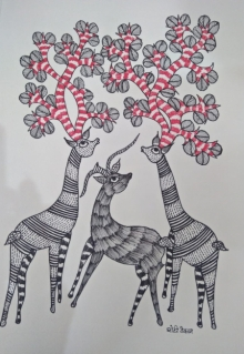 Traditional Indian art title Gond 7 on Paper - Gond Paintings