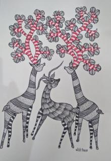 Choti Gond Artist | Gond Traditional art title Gond 7 on Paper | Artist Choti Gond Artist Gallery | ArtZolo.com