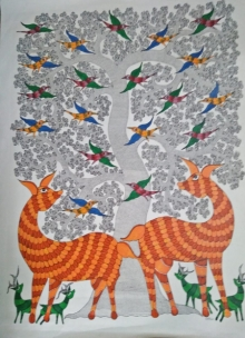 Traditional Indian art title Gond 8 on Paper - Gond Paintings