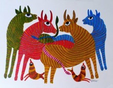 Choti Gond Artist | Gond Traditional art title Group Of Animals 1 on Paper | Artist Choti Gond Artist Gallery | ArtZolo.com