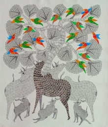Choti Gond Artist | Gond Traditional art title Group Of Animals 5 on Canvas | Artist Choti Gond Artist Gallery | ArtZolo.com