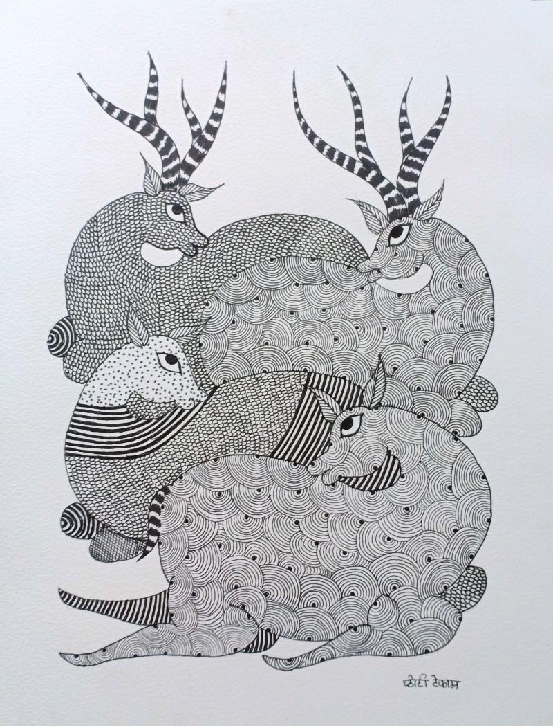 Deer By Choti Gond Artist Gond Paintings Paper