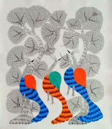 Choti Gond Artist | Gond Traditional art title Peacocks on Canvas | Artist Choti Gond Artist Gallery | ArtZolo.com