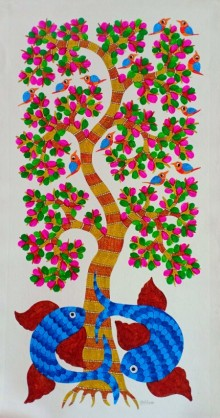 Choti Gond Artist | Gond Traditional art title Tree on Canvas | Artist Choti Gond Artist Gallery | ArtZolo.com