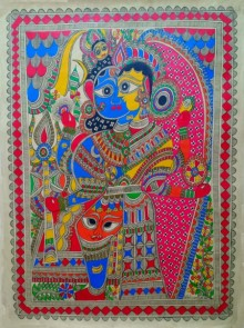 Traditional Indian art title Ardhanareeswara 1 on Paper - Madhubani Paintings