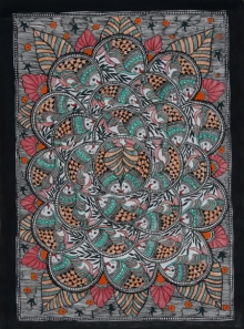 Traditional Indian art title Fish Madhubani 1 on Paper - Madhubani Paintings