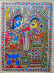 Mithilesh Jha | Madhubani Traditional art title Garland Ceremony on Paper | Artist Mithilesh Jha Gallery | ArtZolo.com