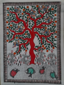 Traditional Indian art title Madhubani 1 on Paper - Madhubani Paintings