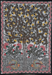 Traditional Indian art title Madhubani 3 on Paper - Madhubani Paintings