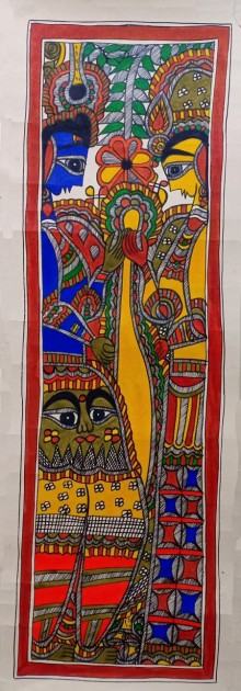 Traditional Indian art title Radha Krishna 1 on Paper - Madhubani Paintings
