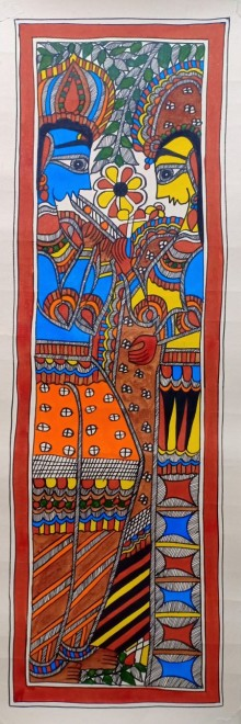 Traditional Indian art title Radha Krishna 2 on Paper - Madhubani Paintings