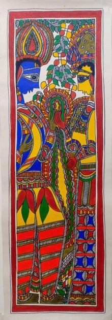 Traditional Indian art title Radha Krishna 3 on Paper - Madhubani Paintings