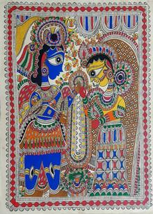 Traditional Indian art title Radha Krishna 4 on Paper - Madhubani Paintings