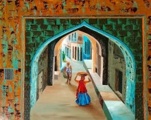 Busy Street 4 | Painting by artist Anuja Sane | oil | Canvas