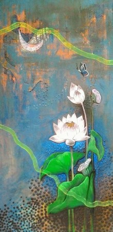 Nature Acrylic Art Painting title 'White Lotus' by artist Shyamali Paul