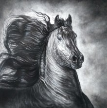 Anand Sai | Charcoal Painting title Wild Spirit 2 on Canvas | Artist Anand Sai Gallery | ArtZolo.com