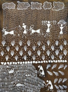 Traditional Indian art title Warli Art 15 on Cloth - Warli Paintings
