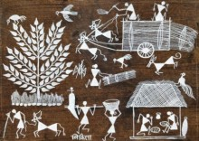 Traditional Indian art title Warli Art 18 on Cloth - Warli Paintings
