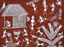 Traditional Indian art title Warli Art 21 on Cloth - Warli Paintings