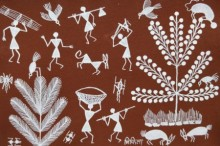 Traditional Indian art title Warli Art 22 on Cloth - Warli Paintings